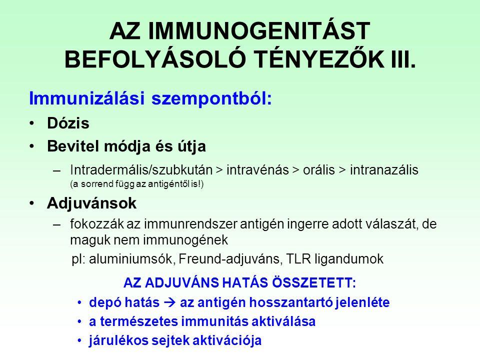 AZ IMMUNOGENITÁST BEFOLYÁSOLÓ TÉNYEZŐK III.