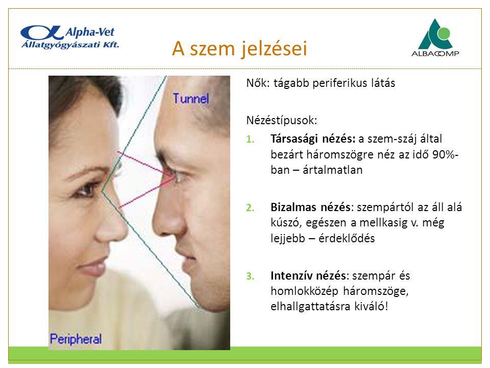 A szem jelzései Nők: tágabb periferikus látás Nézéstípusok: