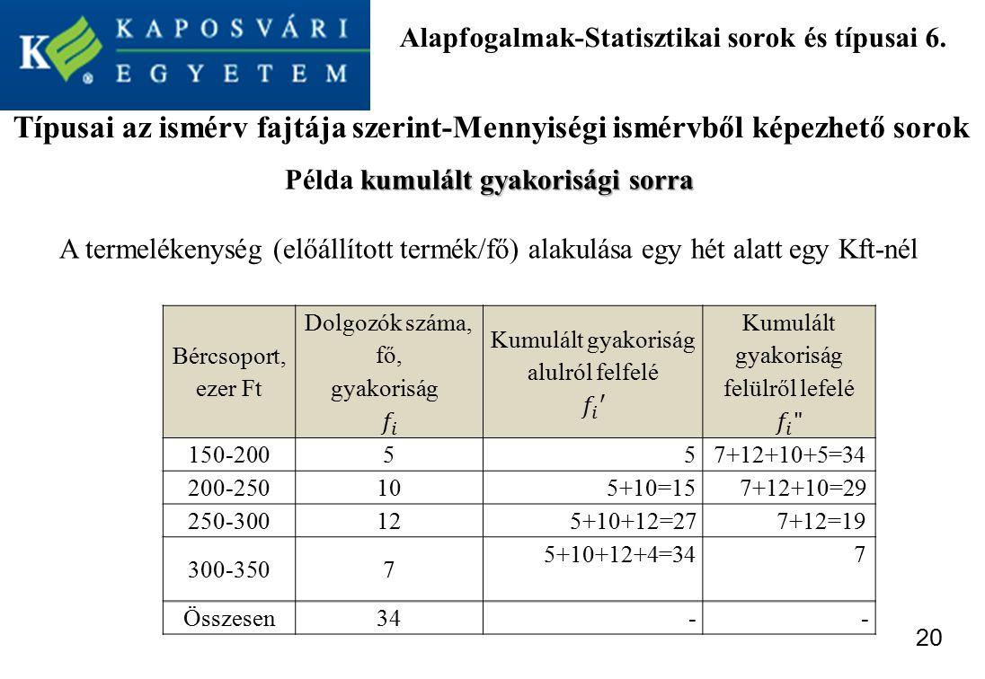 Alapfogalmak-Statisztikai sorok és típusai 6.