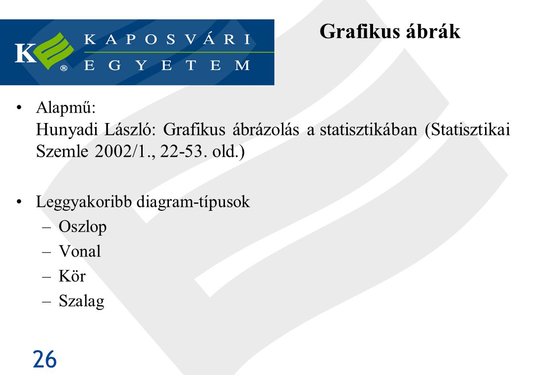 Grafikus ábrák Alapmű: Hunyadi László: Grafikus ábrázolás a statisztikában (Statisztikai Szemle 2002/1., 22-53. old.)