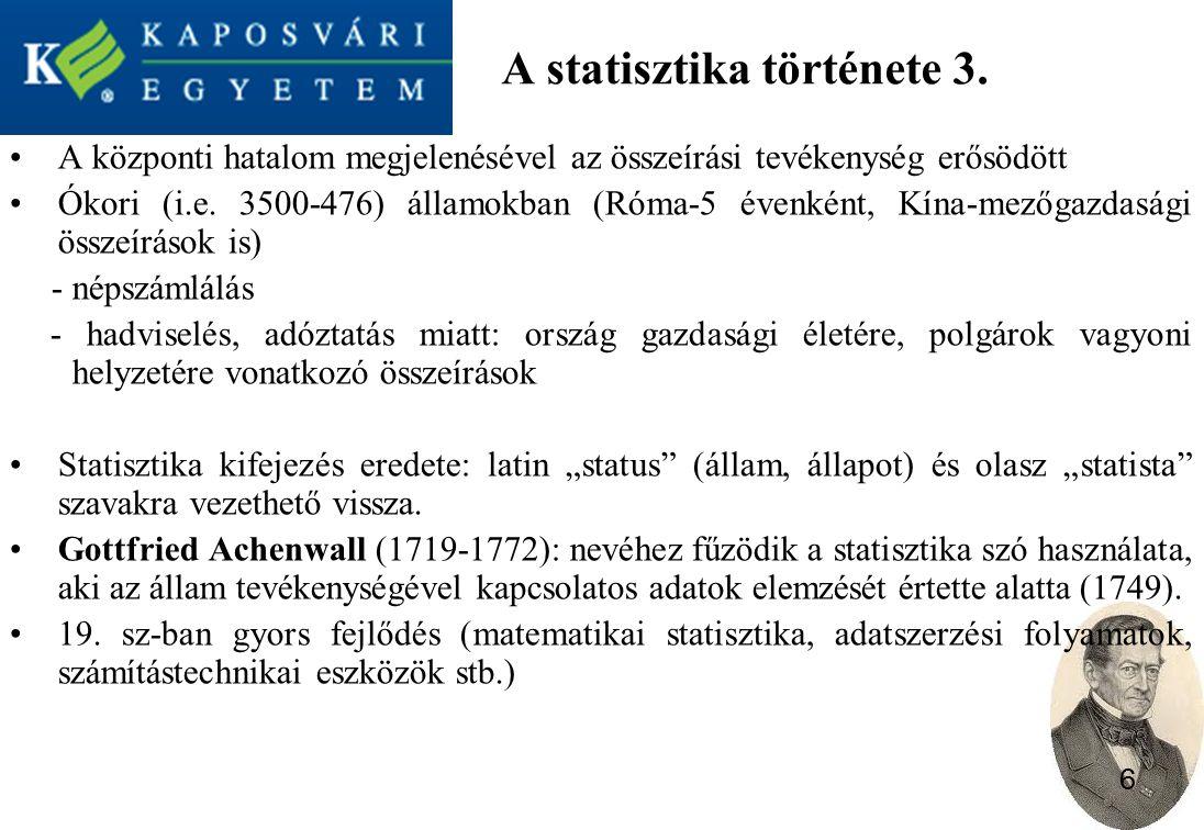 A statisztika története 3.