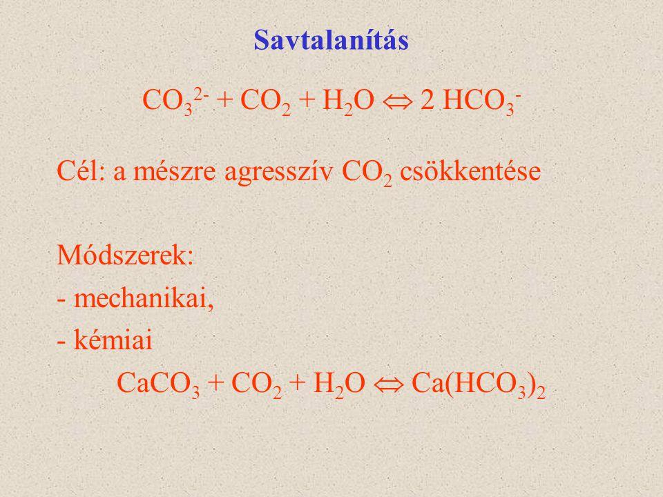Savtalanítás CO32- + CO2 + H2O  2 HCO3- Cél: a mészre agresszív CO2 csökkentése. Módszerek: - mechanikai,