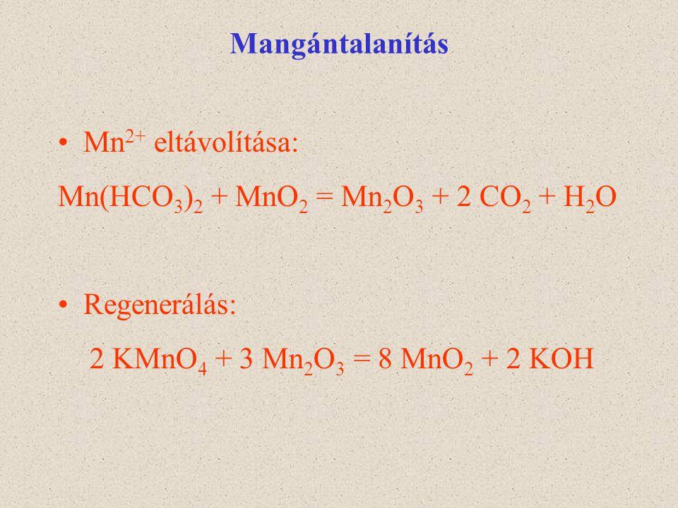 Mangántalanítás Mn2+ eltávolítása: Mn(HCO3)2 + MnO2 = Mn2O3 + 2 CO2 + H2O.