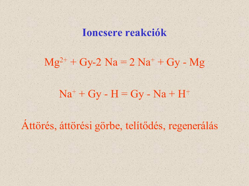 Ioncsere reakciók Mg2+ + Gy-2 Na = 2 Na+ + Gy - Mg.