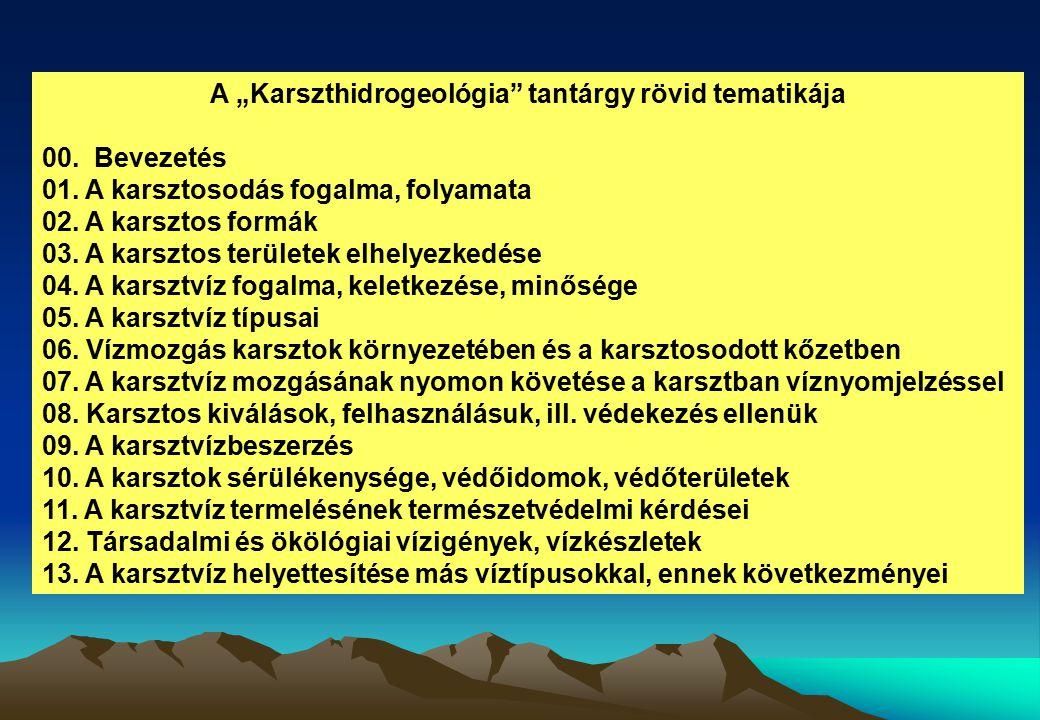 """A """"Karszthidrogeológia tantárgy rövid tematikája"""