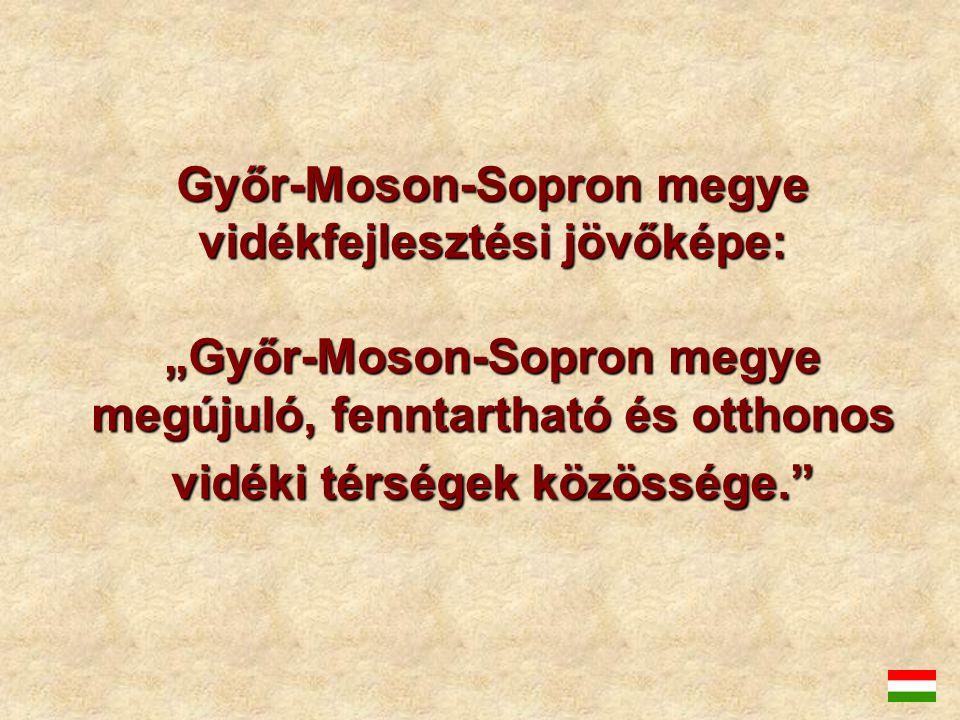 """Győr-Moson-Sopron megye vidékfejlesztési jövőképe: """"Győr-Moson-Sopron megye megújuló, fenntartható és otthonos vidéki térségek közössége."""
