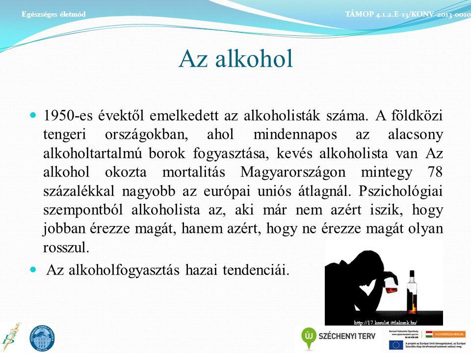 Egészséges életmód TÁMOP 4.1.2.E-13/KONV-2013-0010. Az alkohol.