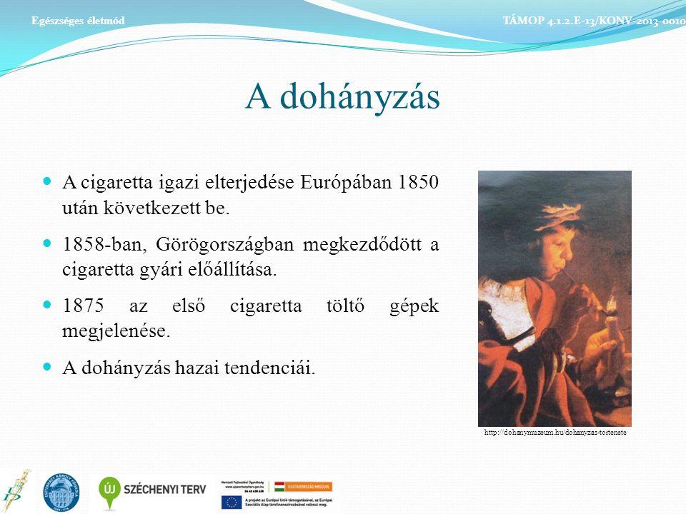 Egészséges életmód TÁMOP 4.1.2.E-13/KONV-2013-0010. A dohányzás. A cigaretta igazi elterjedése Európában 1850 után következett be.