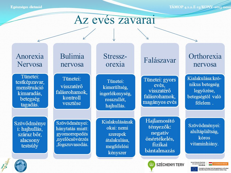 Az evés zavarai Anorexia Nervosa Bulimia nervosa Stressz-orexia