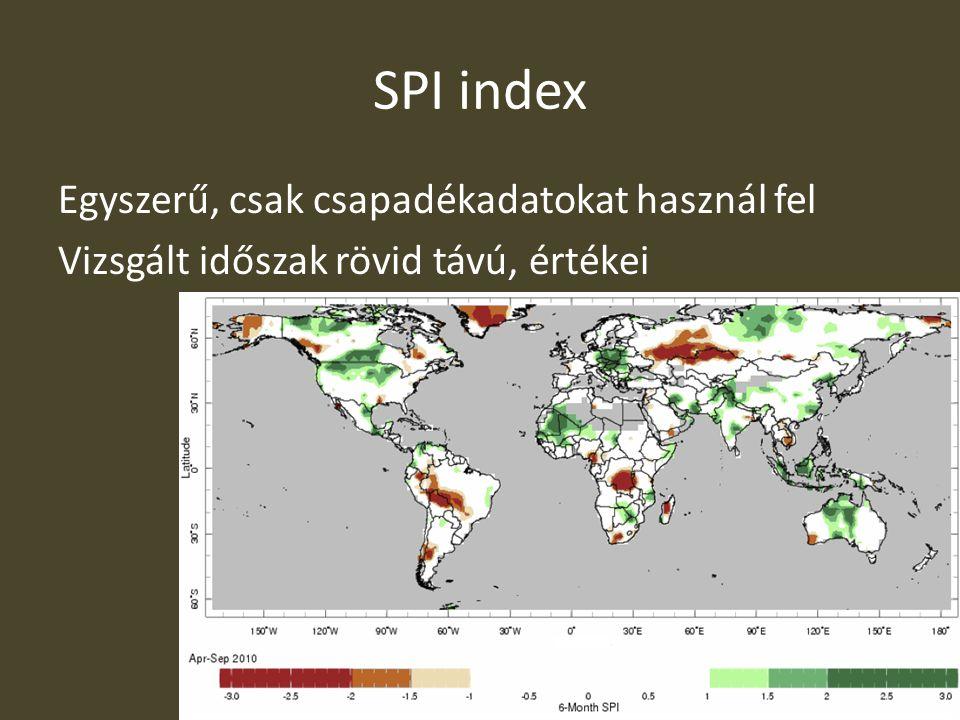 SPI index Egyszerű, csak csapadékadatokat használ fel Vizsgált időszak rövid távú, értékei