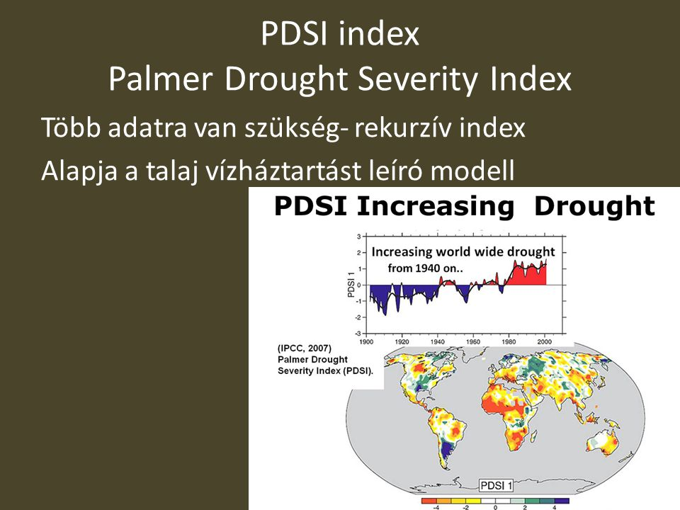PDSI index Palmer Drought Severity Index