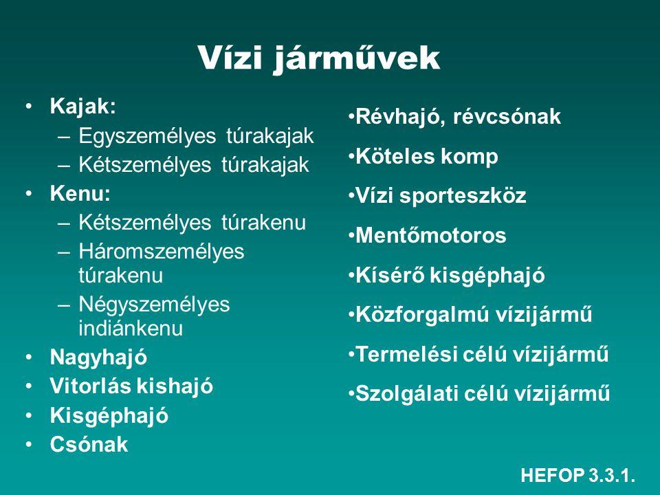 Vízi járművek Kajak: Révhajó, révcsónak Egyszemélyes túrakajak