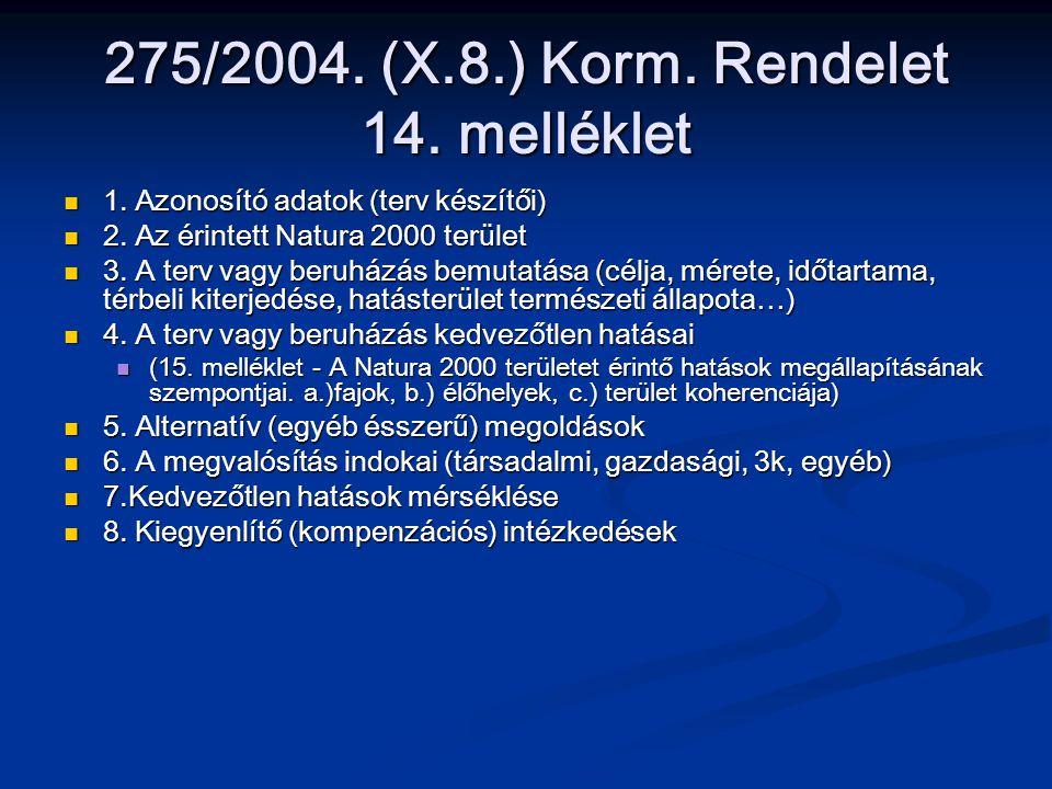 275/2004. (X.8.) Korm. Rendelet 14. melléklet