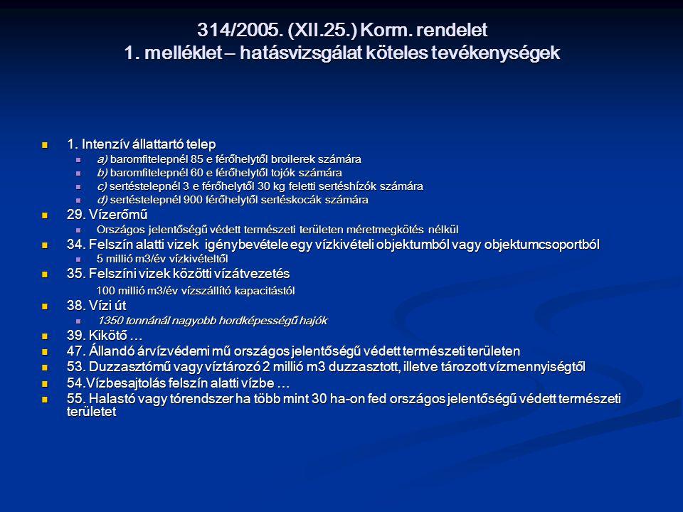 314/2005. (XII.25.) Korm. rendelet 1. melléklet – hatásvizsgálat köteles tevékenységek