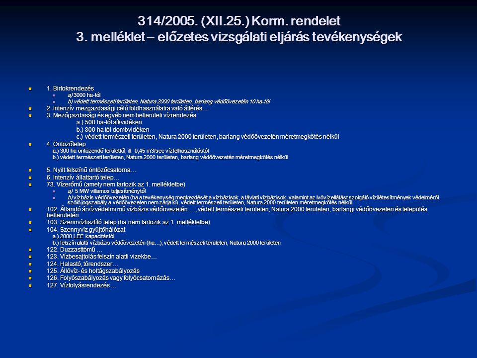 314/2005. (XII.25.) Korm. rendelet 3. melléklet – előzetes vizsgálati eljárás tevékenységek