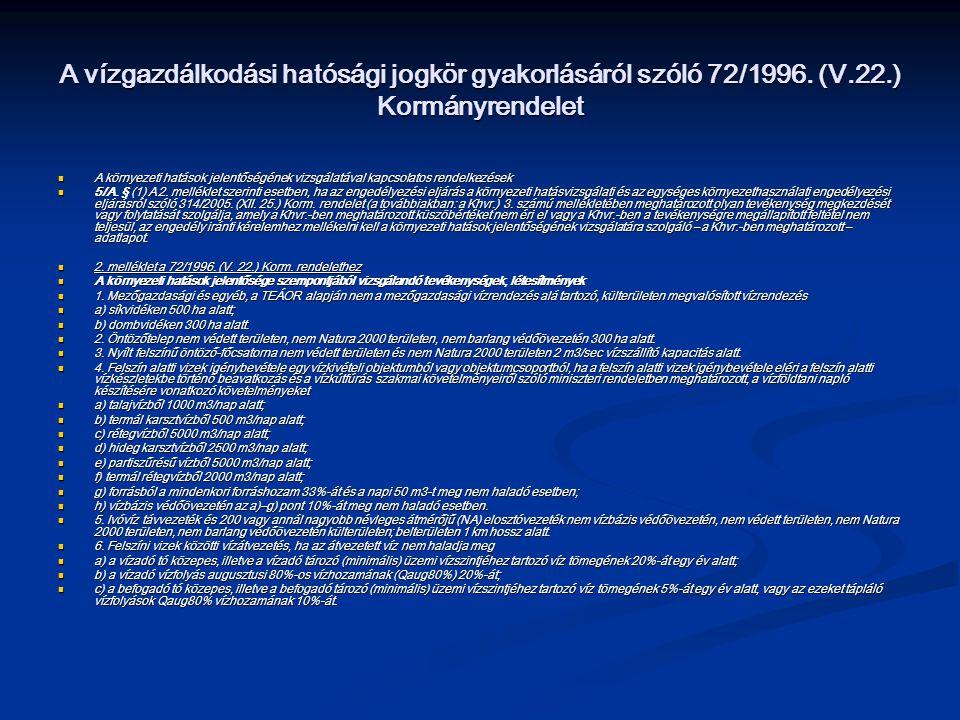 A vízgazdálkodási hatósági jogkör gyakorlásáról szóló 72/1996. (V. 22