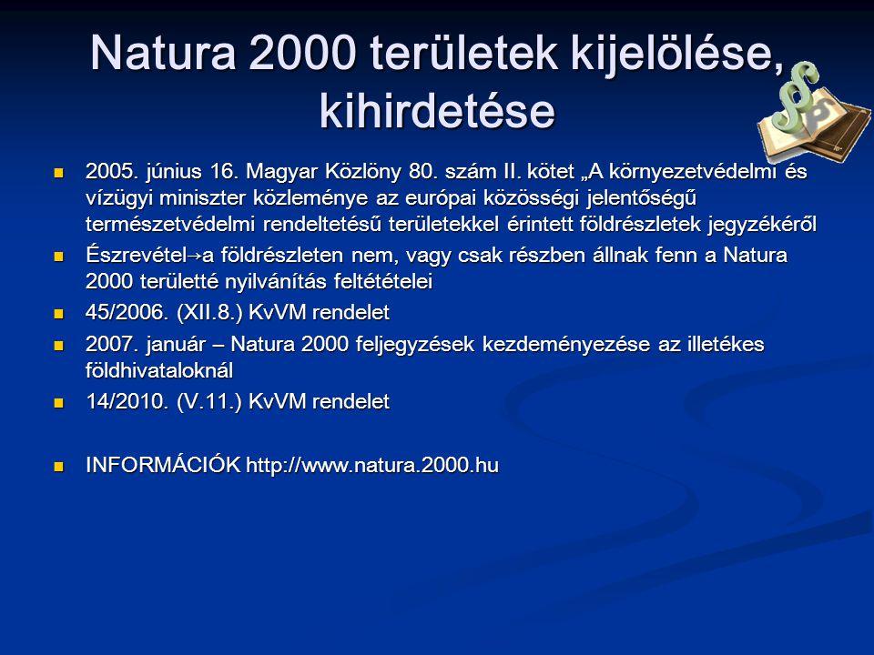 Natura 2000 területek kijelölése, kihirdetése