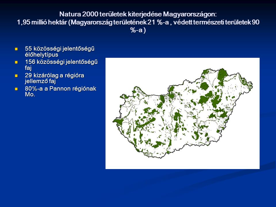 Natura 2000 területek kiterjedése Magyarországon: 1,95 millió hektár (Magyarország területének 21 %-a , védett természeti területek 90 %-a )