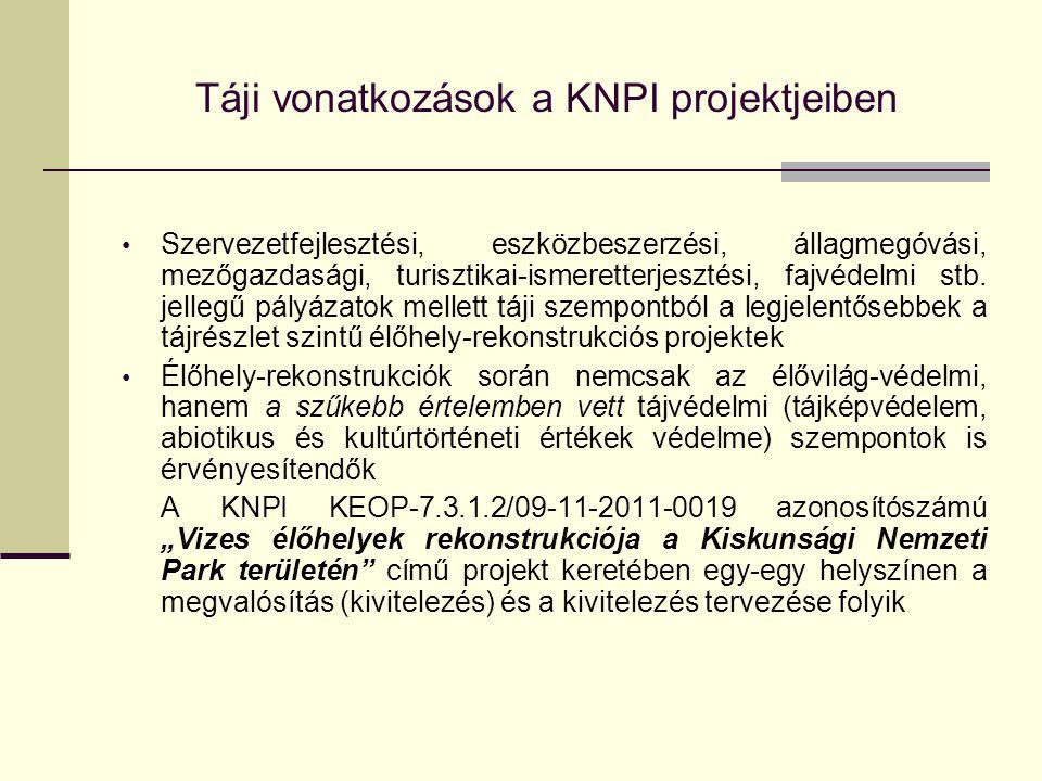 Táji vonatkozások a KNPI projektjeiben