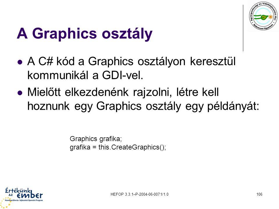 A Graphics osztály A C# kód a Graphics osztályon keresztül kommunikál a GDI-vel.