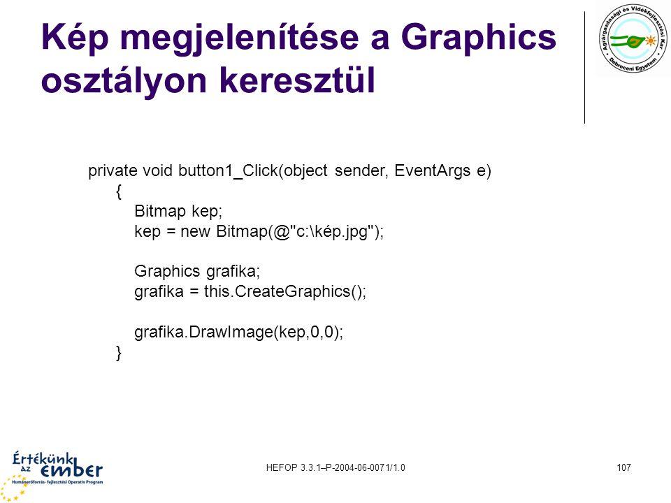 Kép megjelenítése a Graphics osztályon keresztül