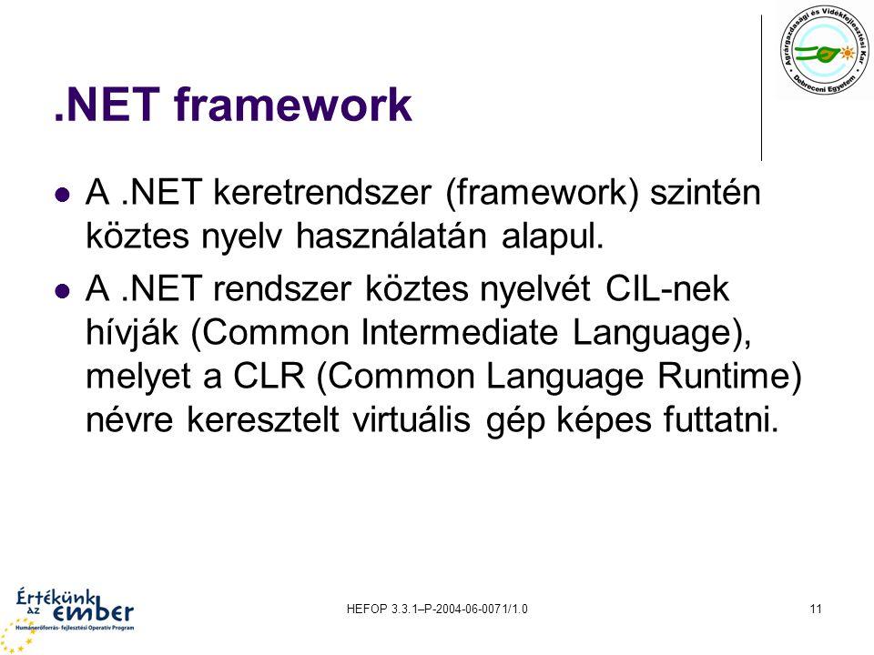 .NET framework A .NET keretrendszer (framework) szintén köztes nyelv használatán alapul.