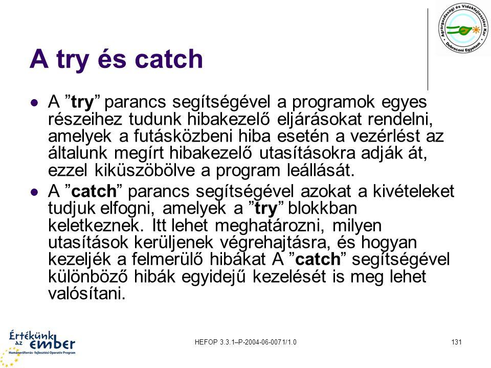 A try és catch
