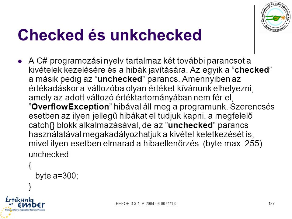 Checked és unkchecked
