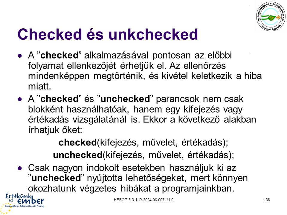 Checked és unkchecked