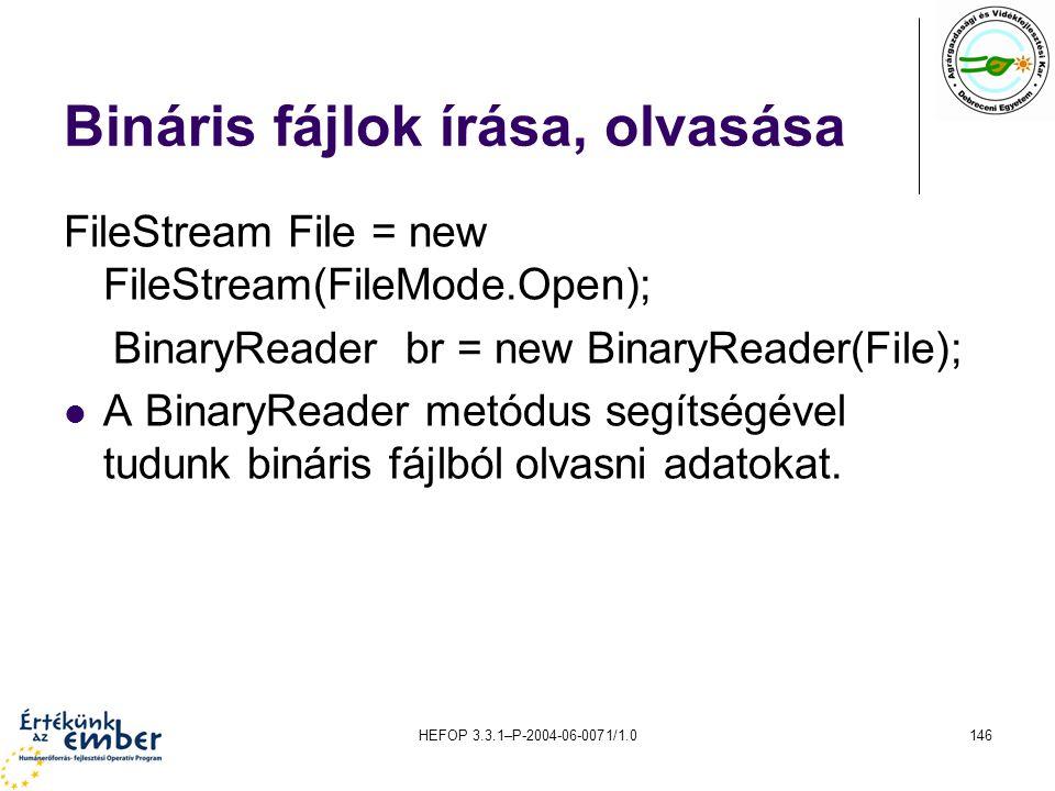 Bináris fájlok írása, olvasása