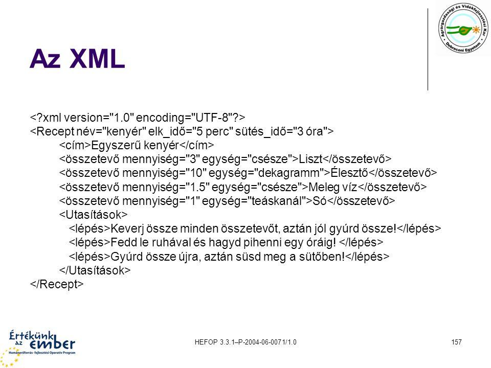 Az XML < xml version= 1.0 encoding= UTF-8 >