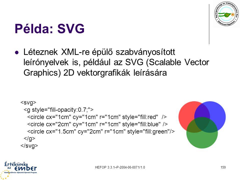 Példa: SVG Léteznek XML-re épülő szabványosított leírónyelvek is, például az SVG (Scalable Vector Graphics) 2D vektorgrafikák leírására.