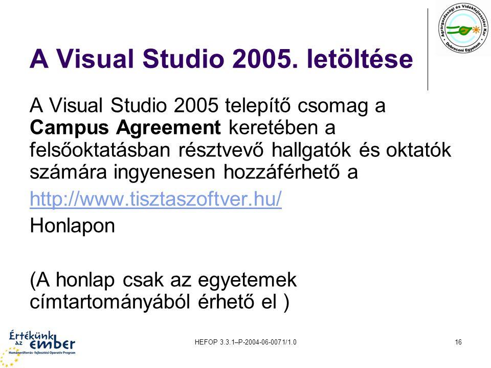 A Visual Studio 2005. letöltése