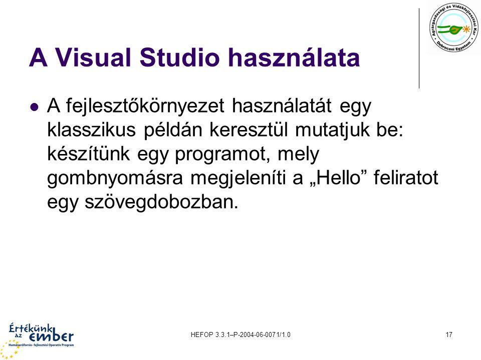 A Visual Studio használata