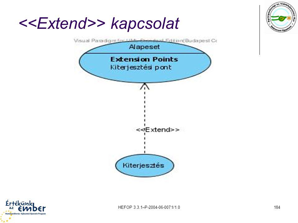<<Extend>> kapcsolat