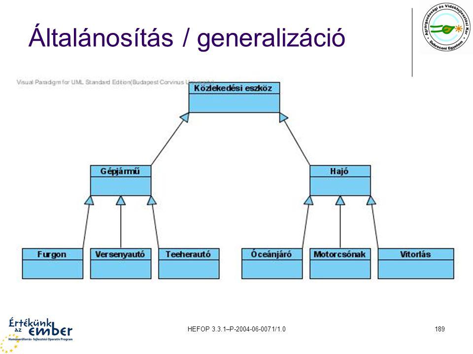 Általánosítás / generalizáció