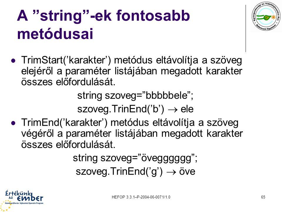 A string -ek fontosabb metódusai