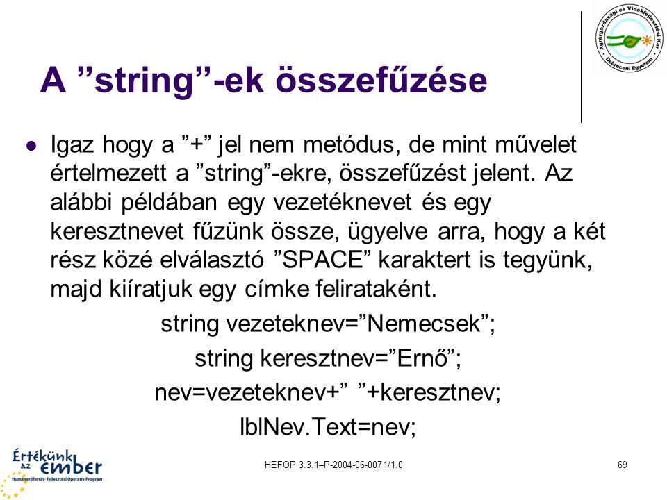 A string -ek összefűzése