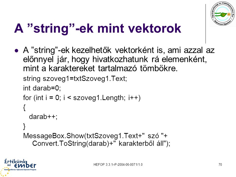 A string -ek mint vektorok