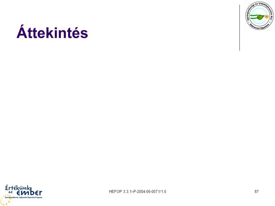 Áttekintés HEFOP 3.3.1–P-2004-06-0071/1.0