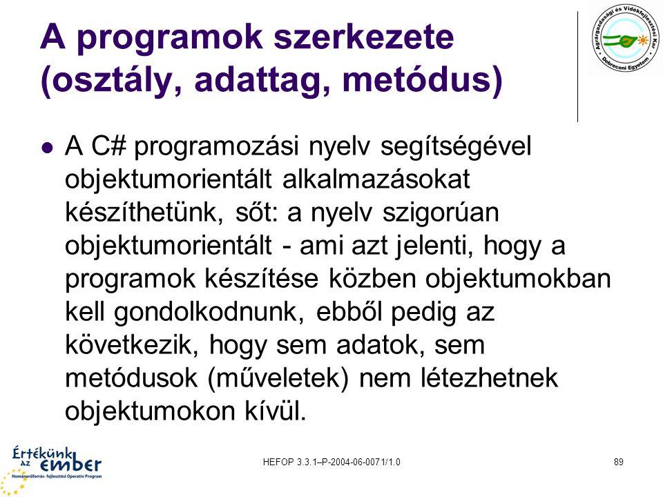 A programok szerkezete (osztály, adattag, metódus)