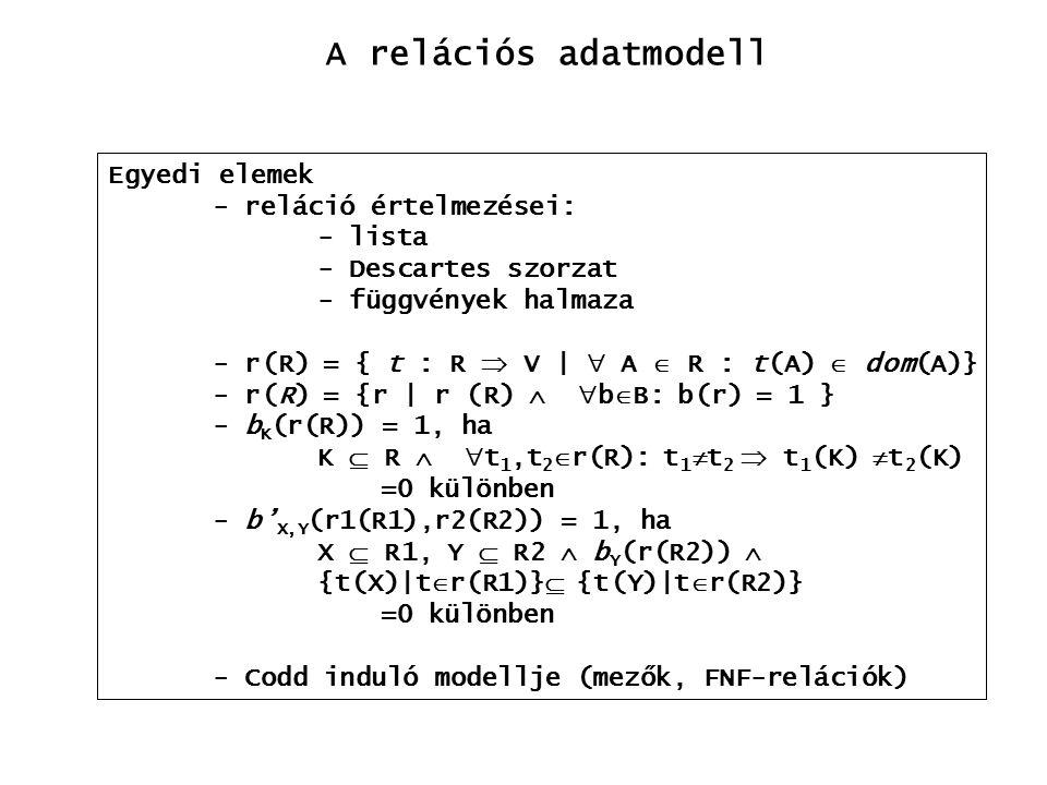 A relációs adatmodell Egyedi elemek - reláció értelmezései: - lista