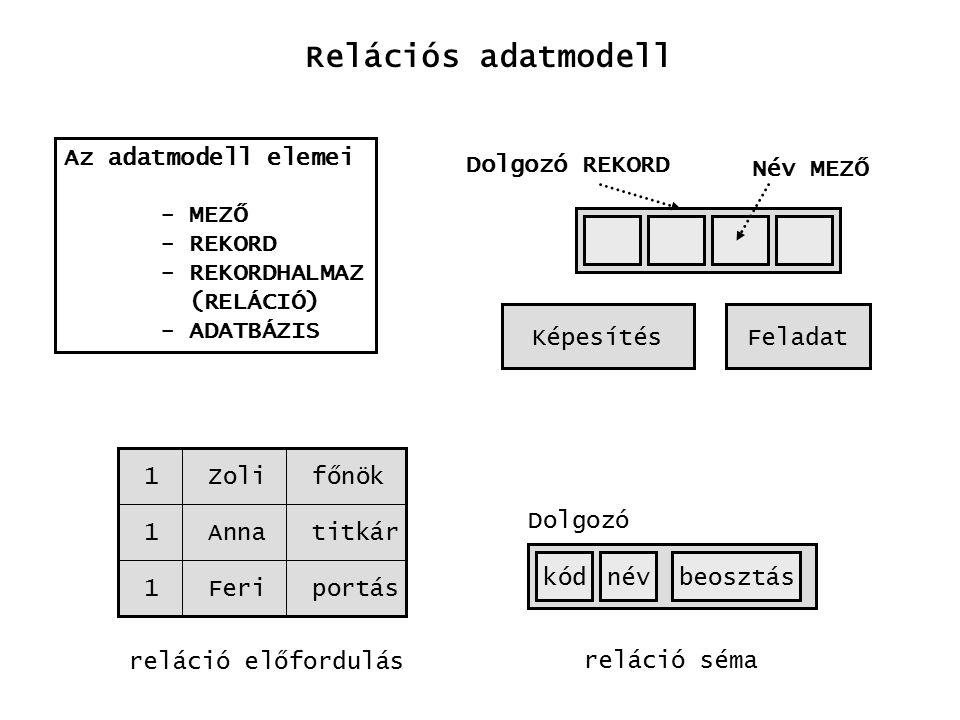 Relációs adatmodell Az adatmodell elemei - MEZŐ - REKORD