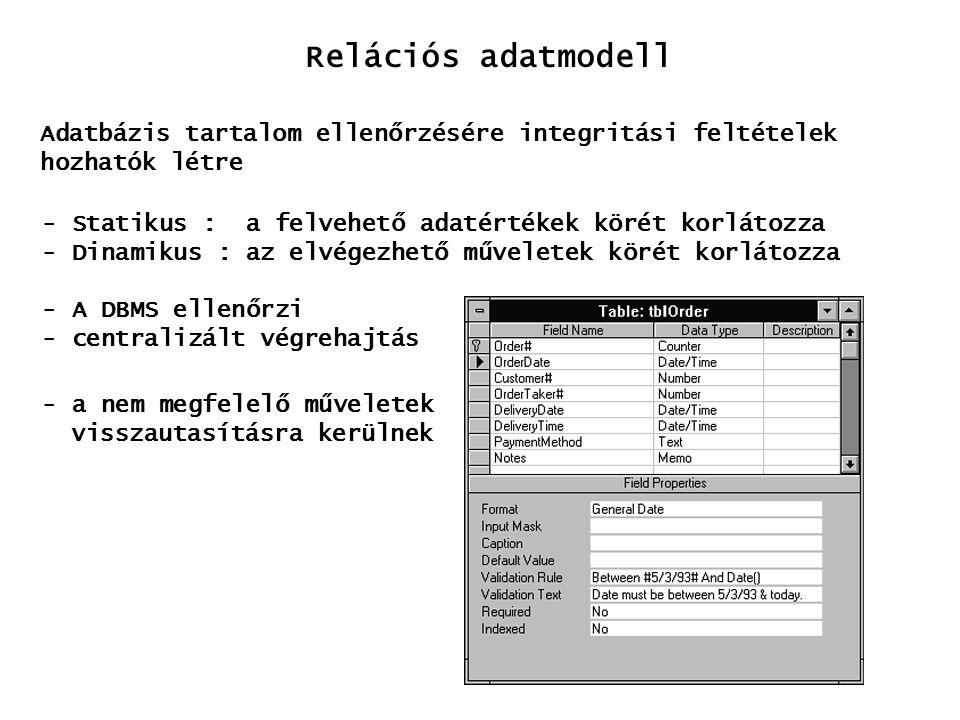 Relációs adatmodell Adatbázis tartalom ellenőrzésére integritási feltételek. hozhatók létre. Statikus : a felvehető adatértékek körét korlátozza.
