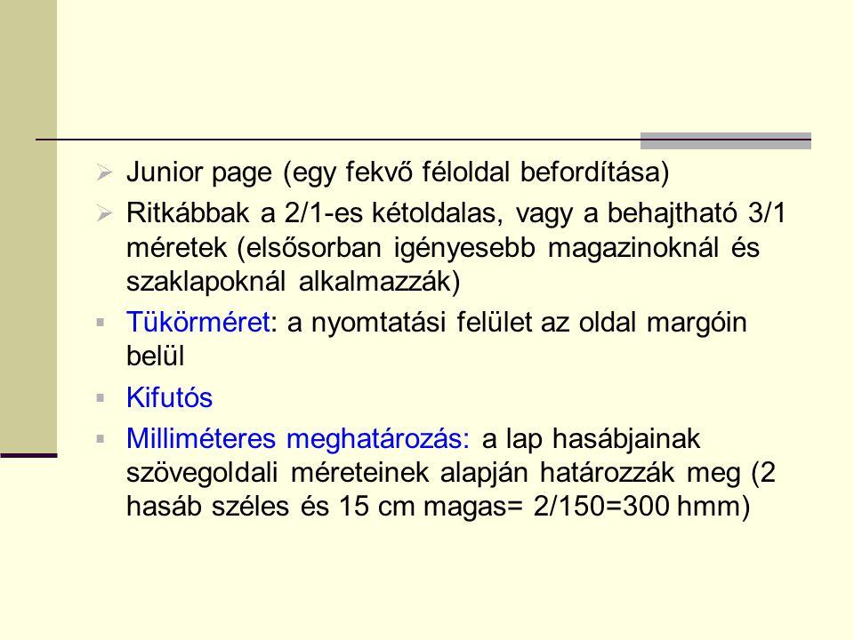Junior page (egy fekvő féloldal befordítása)