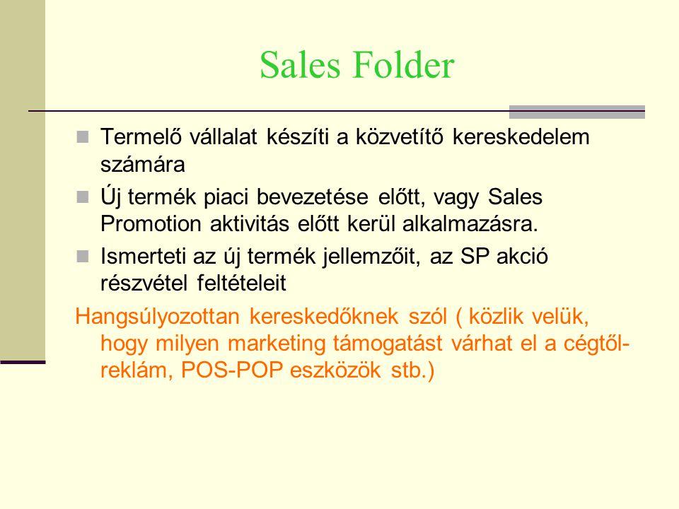 Sales Folder Termelő vállalat készíti a közvetítő kereskedelem számára