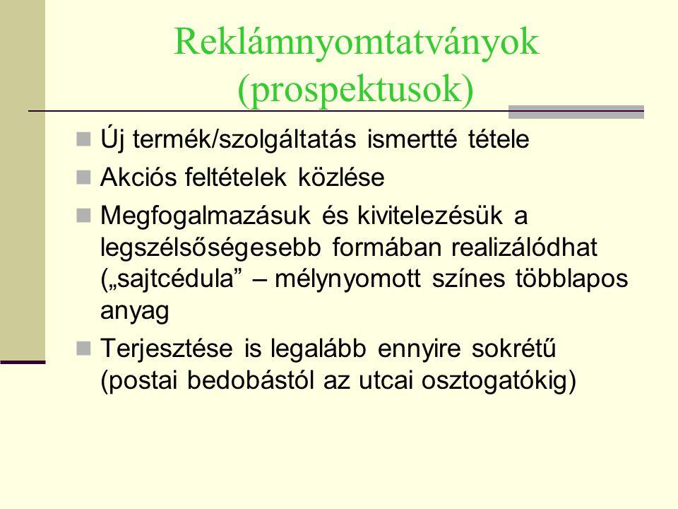 Reklámnyomtatványok (prospektusok)