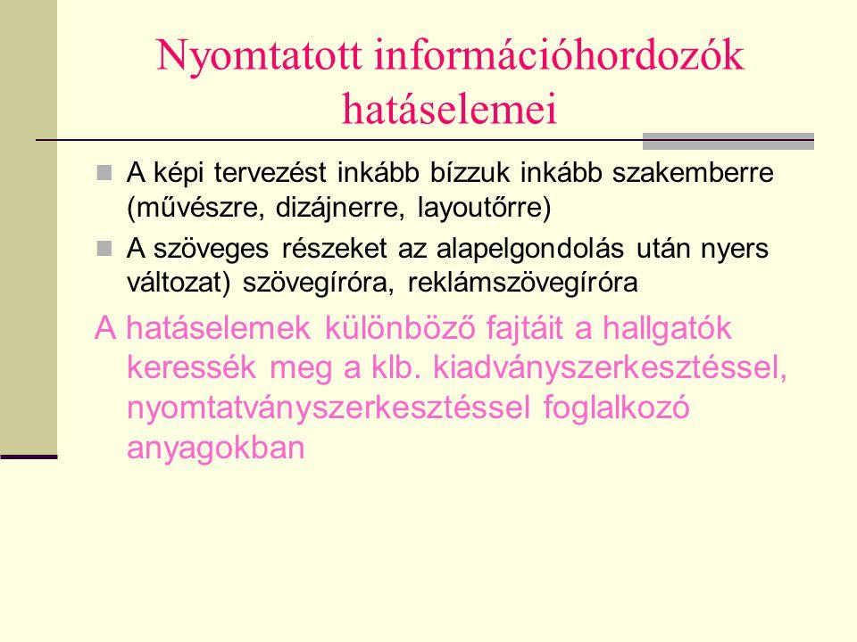 Nyomtatott információhordozók hatáselemei