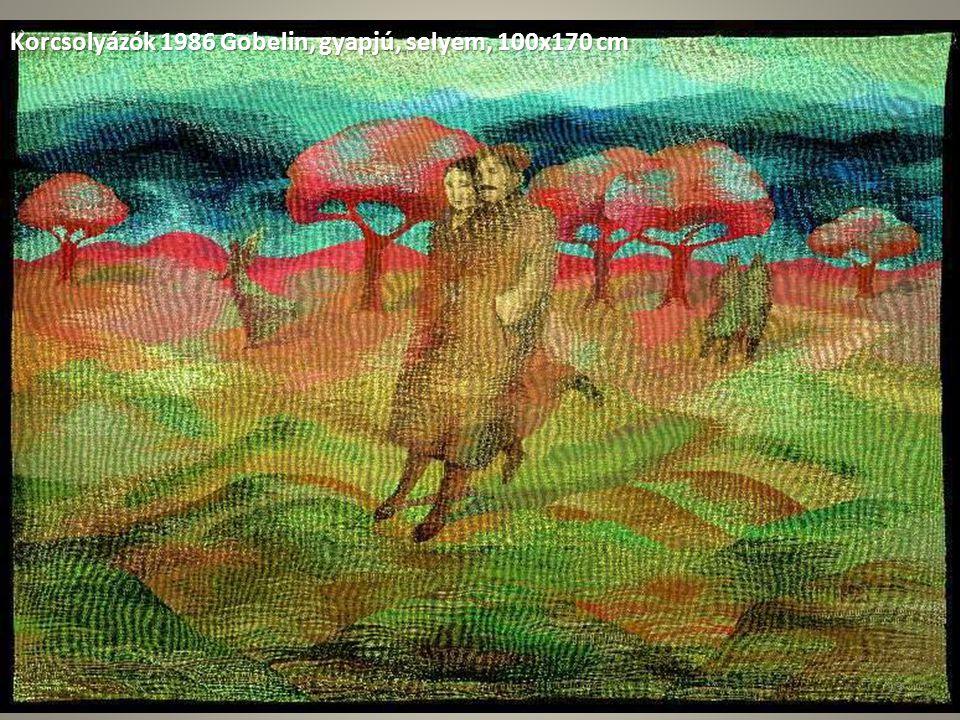 Korcsolyázók 1986 Gobelin, gyapjú, selyem, 100x170 cm