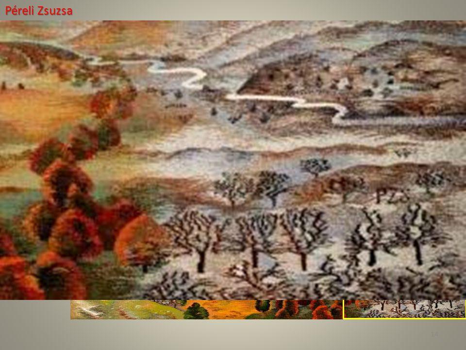 Péreli Zsuzsa Asha Év: 2007–08 Technika: Gobelin Anyag: Gyapjú, selyem Méret: 122 × 164 cm